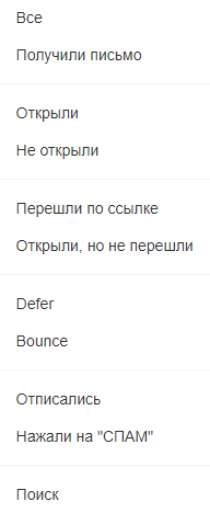 Категории списков по итогам рассылки