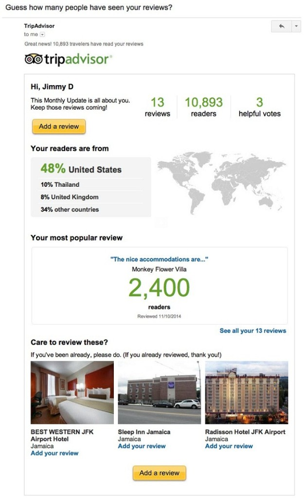 TripAdvisor how many people have seen your reviews