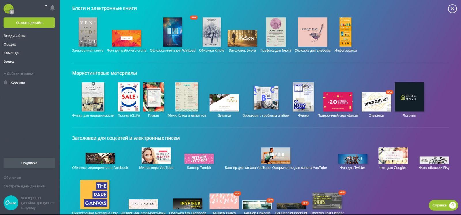 Сервис для создания уникального дизайна постеров - Canva