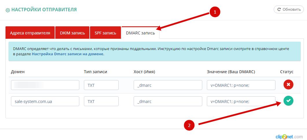 Настройка записи DMARC: активная и неактивная запись