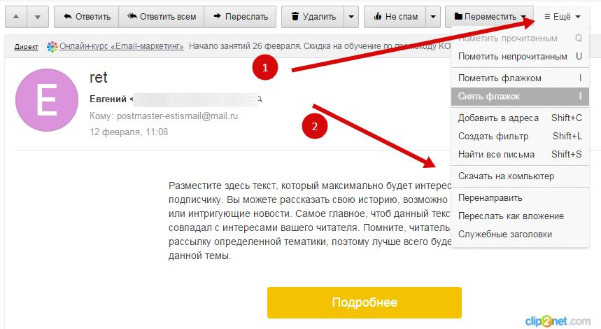 Скачать оригинал письма для обнаружения проблем с доставкой