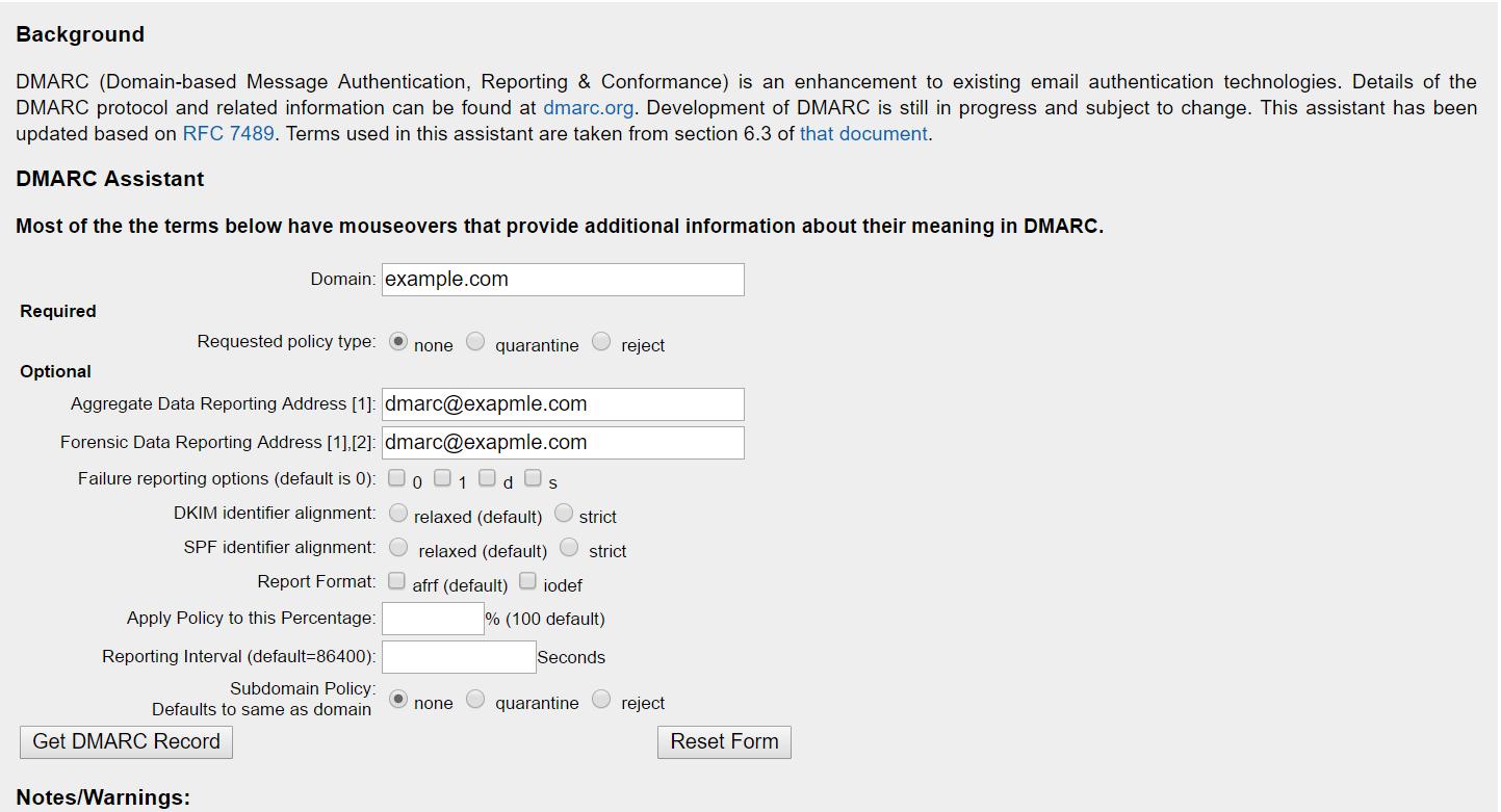 Генерация DMARC записи на Kitterman