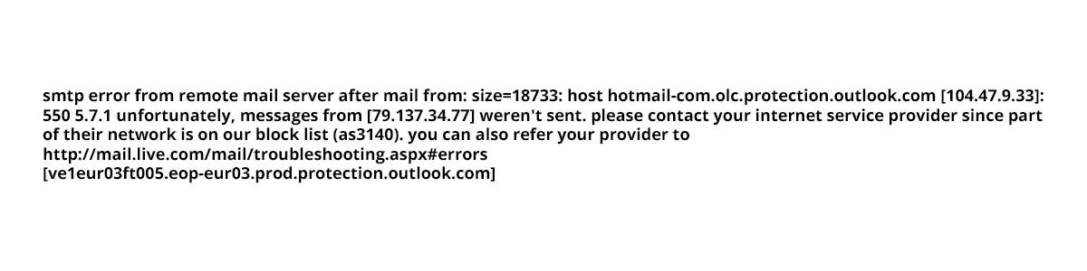 Лог ошибки Hotmail