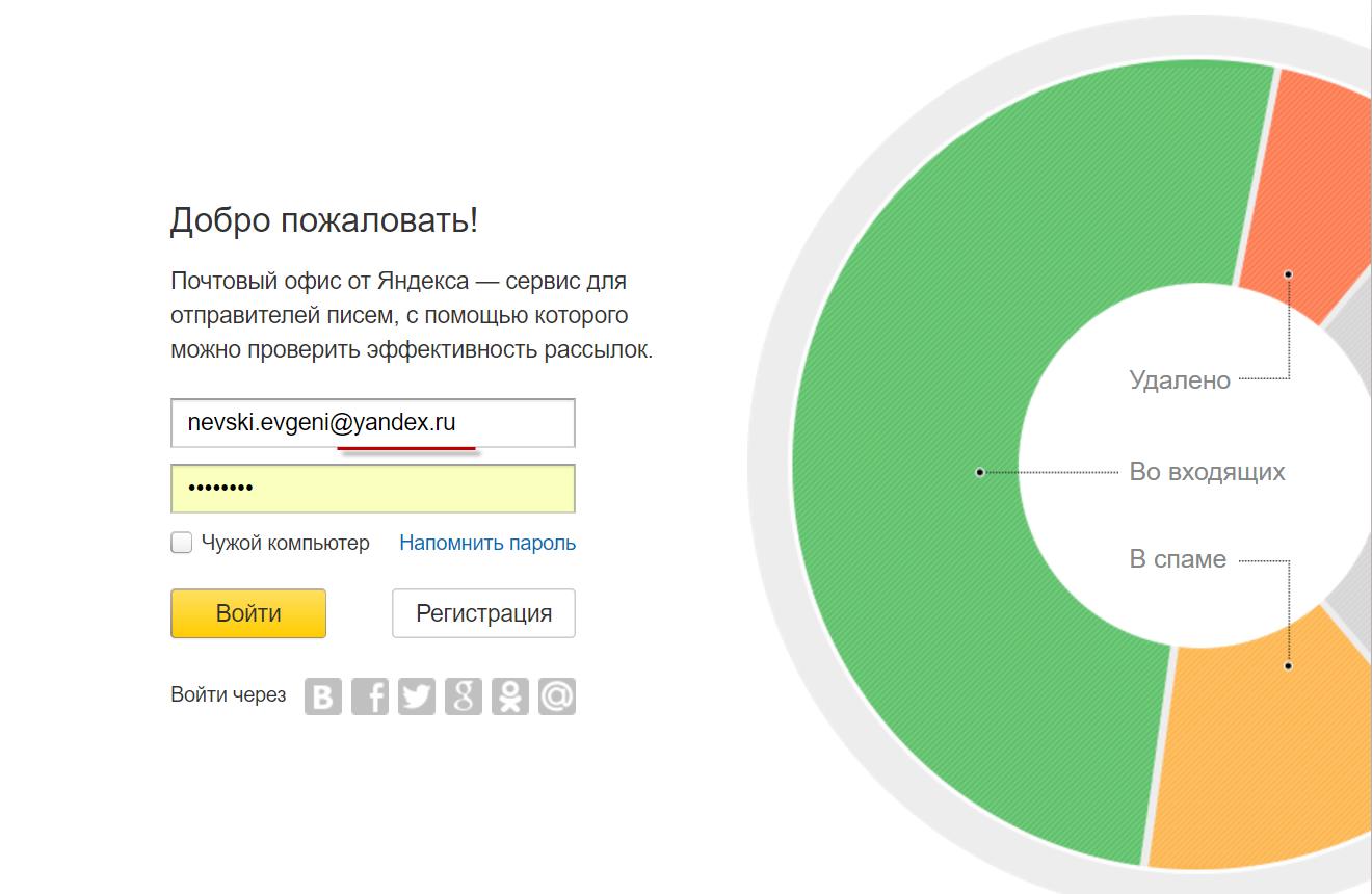 Главная страница входа Yandex Postmaster