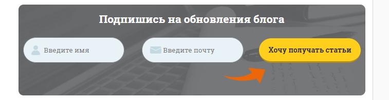 Статическая форма подписки в конце блога WebPromoExpert