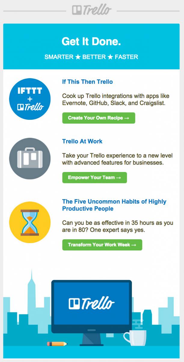 9 вечных трендов в дизайне email-маркетинга: минималистический дизайн писем Trello